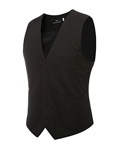 Leisure panciotto gilet uomo slim fit casual elegante smanicato corpetto nero 6xl