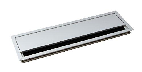 Kabeldurchführung silber Schreibtisch ECO eckig mit Bürstendichtung | Kabeldurchlass Aluminium...