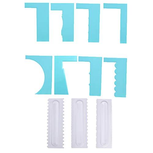 Yintiod - Set di 11 spatole per Torta a seghetto, in plastica, per Decorare i Bordi delle Torte