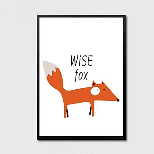 XWArtpic Cartoon Abstrakte Süße Leinwand Gemälde Nette Kunst Fuchs Bär Tier Blume Poster Drucken Wandbild für Kinder Baby Room Home Decor 60 * 100 cm
