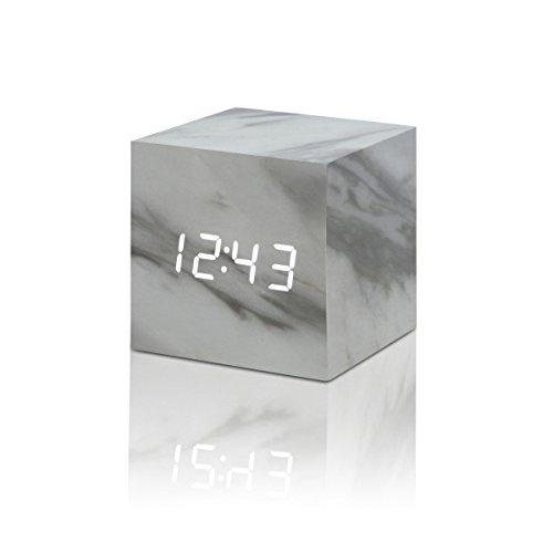 Gingko Cube Click Clock Marble Wecker Stein 7,5x7,5x7,5 cm marble / LED weiß