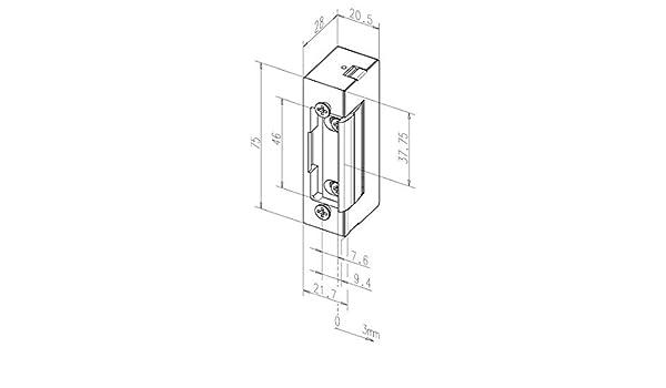 19E---------D11 Assa Abloy Elektro-T/ür/öffner 19E DIN L//R o.S 6-12 V AC//DC, Zink-Druckguss ohne Schliessblech