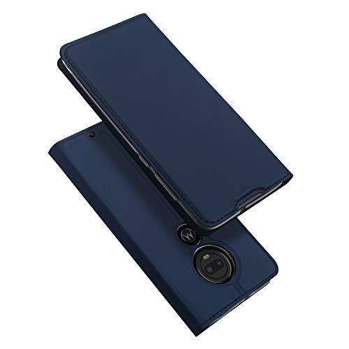 DUX DUCIS Hülle für Moto G7 / Moto G7 Plus, Leder Flip Handyhülle Schutzhülle Tasche Case mit [Kartenfach] [Standfunktion] [Magnetverschluss] für Motorola Moto G7 / Moto G7 Plus (Blau)