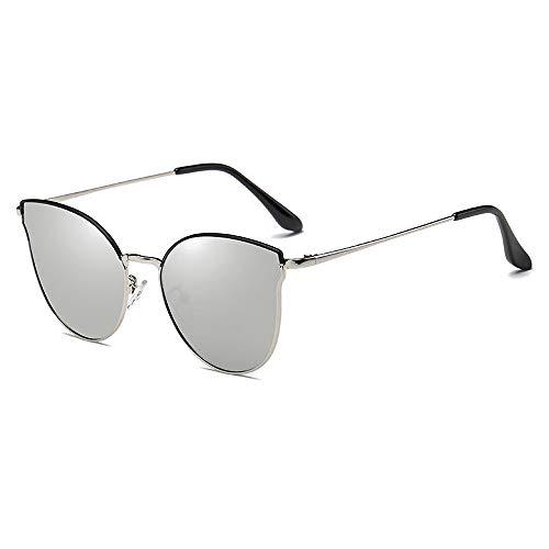 BlueAurora Cat Eye Polarized Sonnenbrillen, UV400 Round Metal Sonnenbrillen für Frauen,Gray