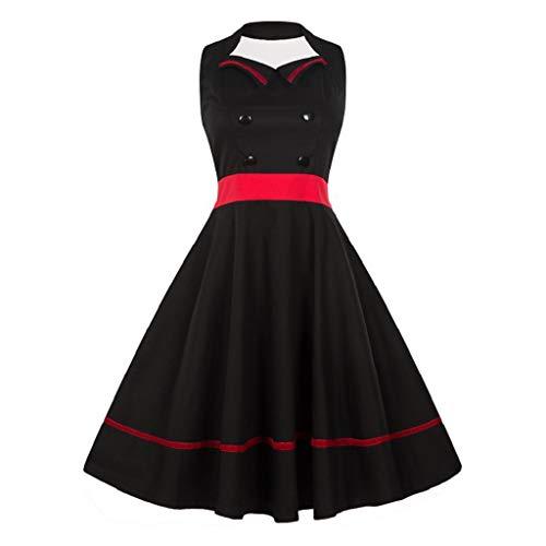 (Soupliebe Mode Frauen Plus Größe GroßE Schaukel Kleid Retro Ärmellose Vintage Halfter Kleid Abendkleider Cocktailkleid Partykleider Blusenkleid)