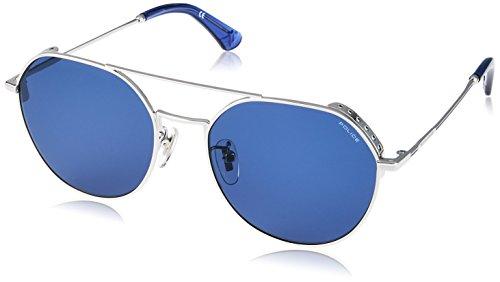 Police highway two 5 occhiali da sole, grigio (shiny palladium/blue), 55.0 uomo