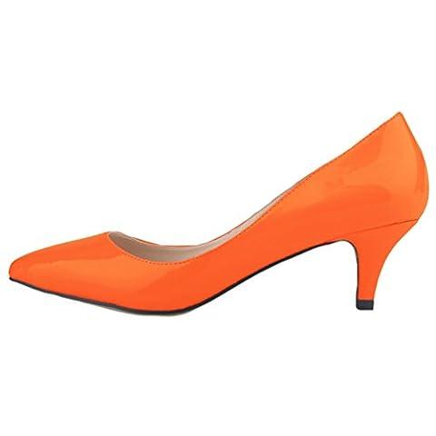 WanYang Damen Hoher Absatz Lackleder Spitz ZeheSchuhe PU Shallow Mund Schuhe mit Hohen Absätzen