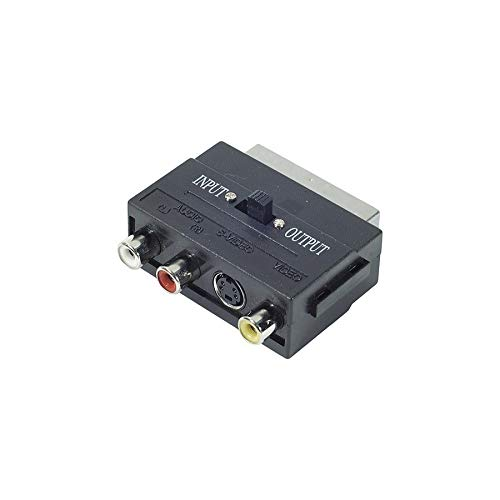 SVHS Scart-Adapter, hochwertig, 4-polig, S-Video, Cinch, TV-In TV-Out, komplett Kabel, 21 Pins, Playstation, Xbox TV Video