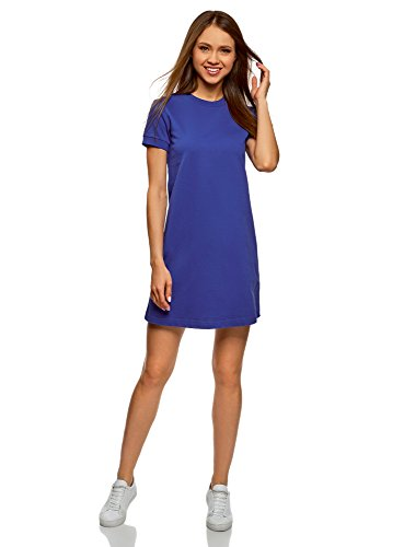 oodji Ultra Damen Lässiges Jersey-Kleid, Blau, DE 42/EU 44/XL (Damen Casual Kleid)