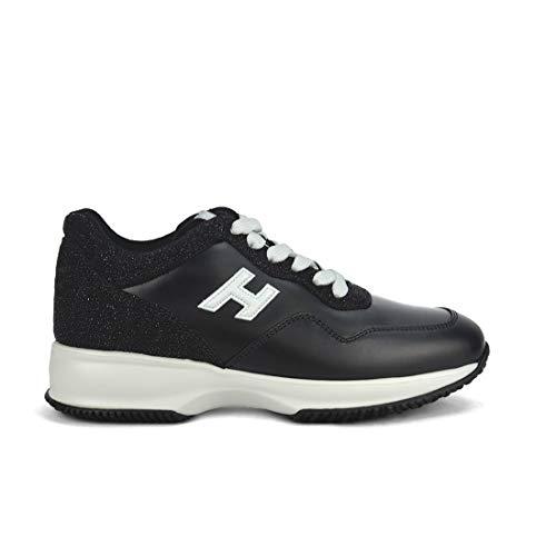 HOGAN DONNA Iinteractive Sneakers Mod. HXW00N0W660JDV0002 in Pelle Nera Con Inserti in Glitter 37½