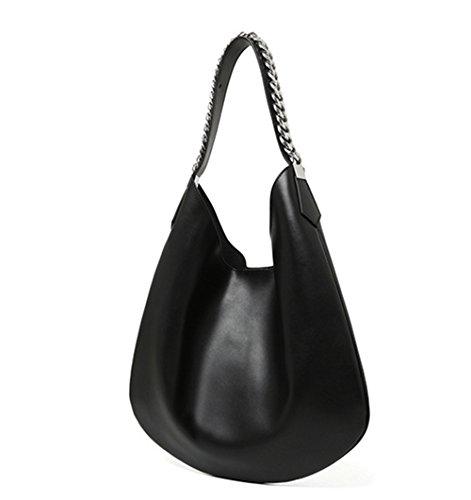 Xinmaoyuan Borse donna grande pacchetto borsa tracolla in pelle Crescent Pack spalla ritiro a mano le donne Shopping Bag colore puro gnocco di catena del tipo sacchetto,Rosa Nero