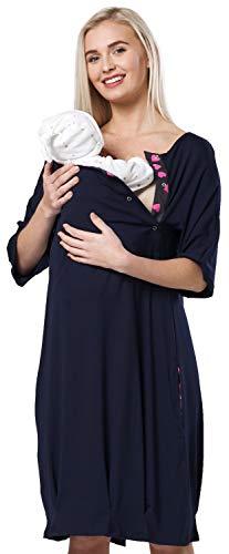 HAPPY MAMA Damen Mutterschaft Krankenhaus Ausgeschnitten Nachthemd 184p (Marine, EU 38/40, M)
