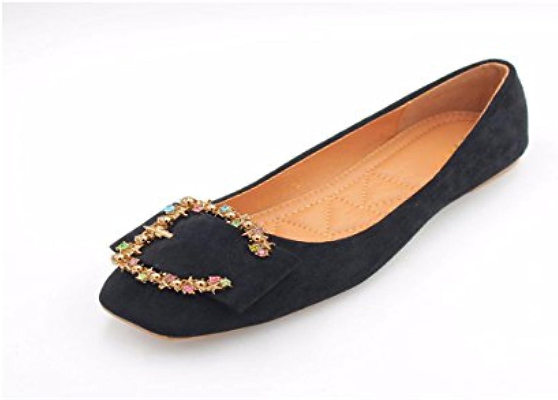 a4cf97d84cac73 KPHY Chaussures pour Femmes/Forage De Velours Couleur Couleur Couleur du  Printemps Décoratif Shallow Square Square À Fond Plat.