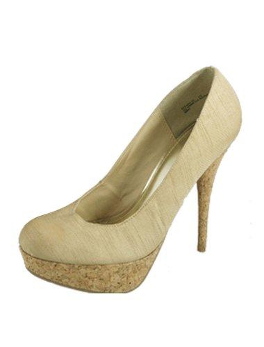 sourcingmap Femme Kaki Nylon Vampire Bout Rond Style Chaussures Talon Haut Plateforme US 40 Beige