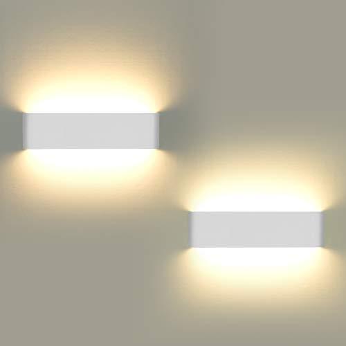 Wandleuchten Indoor, 2Pcs LED Wandleuchte 12W leuchtet auf und ab moderne Wandleuchte für Wohnzimmer Balkon Treppe Veranda Shop, warm weißes Licht -
