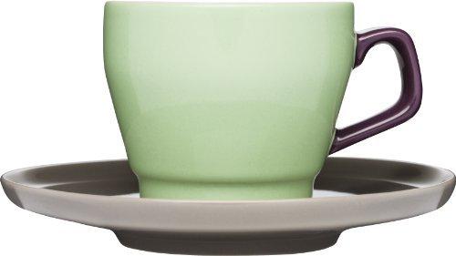 Sagaform POP Stoneware Coffee Cup and Saucer, 8-1/2-Ounce, Spring Green/Purple/Brown by Sagaform Sagaform Green