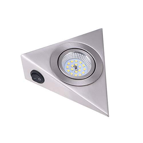 LEDMOMO Applique murale triangulaire LED en acier inoxydable pour meuble de cuisine, meuble TV, lumière blanche