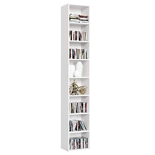 Homfa Librería Estantería de Pared 8 Cubos Estantes Ajustables Estantería Alta del Suelo para Libros CDs 180x29.5x23.5cm (Blanco)