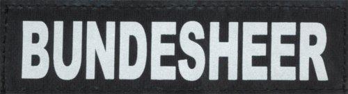 """BUNDESHEER 2xLogos klein weiß/reflektierend für Julius K9® / Logo Klettlogo Austauschlogo K-9 Powergeschirr + IDC (IDC Baby1 + IDC/Power Baby2/MiniMini/Mini/""""0"""") - Format: 3 x 11 cm"""