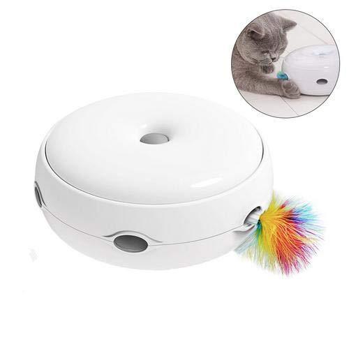 Arvin87Lyly Katzenspielzeug Elektrisch Mäuse fangen Katzen Spielzeug Interaktives Katzen Spielzeug mit Feder(Nicht inklusive Stromkabel), Antirutschem Base, Training, Stärkung der Sinne