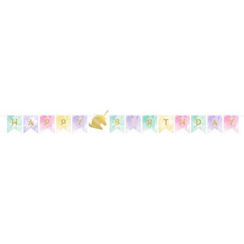 Goldenes Einhorn Girlande (Einhorn Happy Birthday Banner)