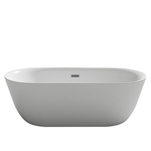 Bañera de diseño Lausanne, blanco acrílico, bañera de doble pared, fija, gran...