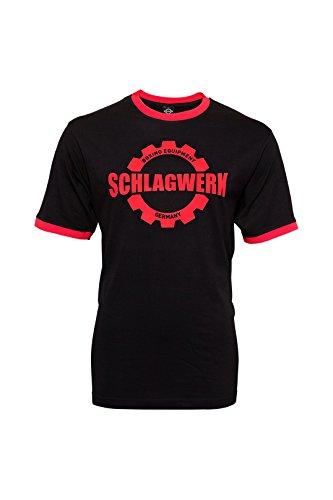 SCHLAGWERK - das Original Logo T-Shirt für Boxer mit Leidenschaft 100% Baumwolle (M - XL) in den Farben Sky Blue, Schwarz und Weiß (Schwarz/Rot, XL)