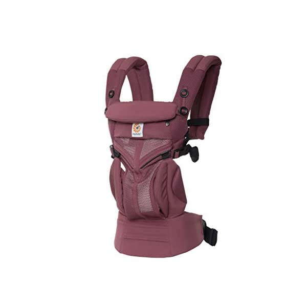 Ergobaby Baby Carrier for Newborn to Toddler, 4-Position Omni 360 Cool Air Plum, Breathable Ergonomic Child Carrier & Backpack Ergobaby BABY CARRIER FOR NEWBORN - Adapts to your growing baby from birth to toddler (7-45lbs). 4 carry positions: front-inward, back, hip, and front-outward. A Baby hood for sun protection (UPF 50+) & privacy for sleeping or breastfeeding is included. COMFORT - Exceptional lower back comfort with padded lumbar support waist belt & extra padded shoulder straps with the option to wear 2 ways: crossed or backpack style. Waist belt can be worn high or low to maximize comfort. COOL & BREATHABLE - Our Cool Air Mesh baby carriers are made with soft and durable mesh fabric that provides our renowned ergonomic support for baby while allowing for ultimate breathability and airflow 2