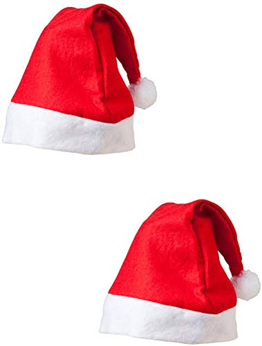 URVI Creation Set of 2 Christmas Santa Claus Hat / Santa Claus Cap Merry Christmas Hat Cap for Christmas /Xmas Party Celebration