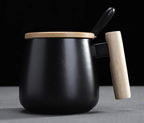 MugDisne qecdp* Keramiktasse Keramikbecher mit Deckel Löffel einfache ins Tasse süße Kinder koreanische Version der großen Kapazität Mädchen Kaffeetasse(325ml-425ml)