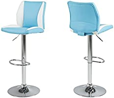 AC design furniture 59788 lot de 2 tabourets de bar ryan cuir synthétique turquoise/blanc