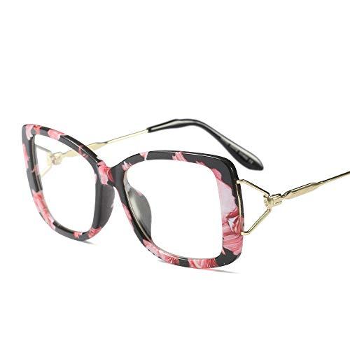 Frauen-Retro quadratische klare Linsen-Gläser, ultraleichter Rahmen. Brille (Farbe : Flowers)