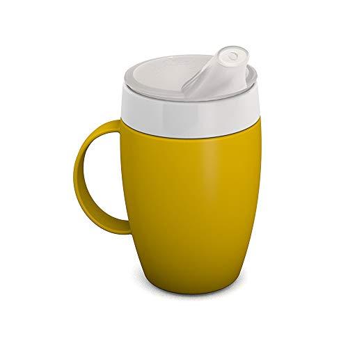 Ornamin Becher mit Trink-Trick, Thermofunktion und Schnabelaufsatz 140 ml gelb (Modell 905 + 806) / Thermobecher, Spezial-Trinkhilfe, Schnabelbecher
