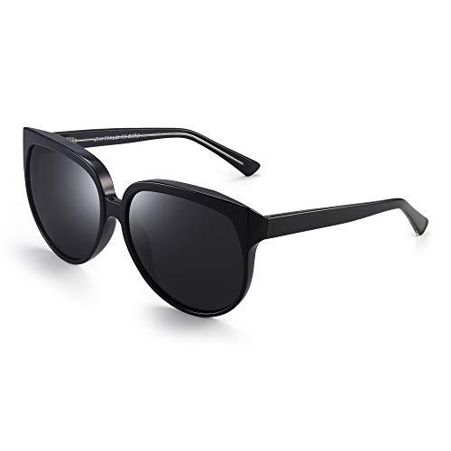 JIM HALO Oversized Polarisiert Sonnenbrille für Damen Designer Gradient Schatten UV400(Schwarz Rahmen/Polarisierte Graue Linse)