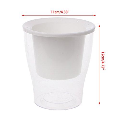 Dabixx Car Irrigate Flower Pot Vase Automatique pour Arroser Lazy Planter Round Planting - Blanc (Plus Perle Coton)