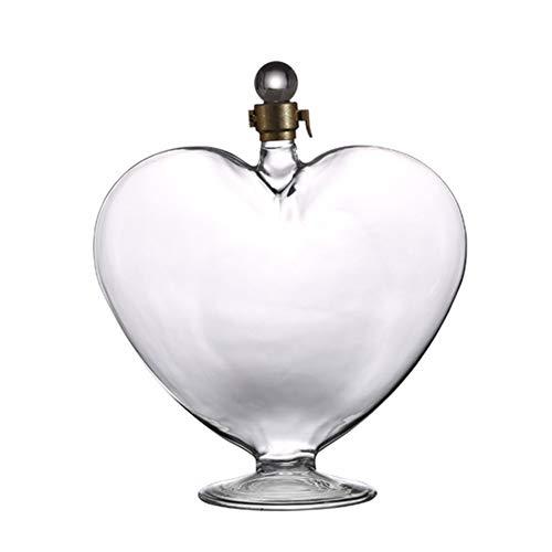 HUBI Decanter È Senza Piombo, Sofisticato 1000Ml Diamante Decanter con A Forma di Cuore per Il Whisky, Bourbon, Scotch & Liquo