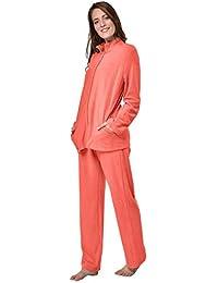 77290093f6 Raikou Damen Hausanzug Elegant Volltonfarbe Micro-Fleece Schlafanzug  Freizeitanzug Hausanzug mit…