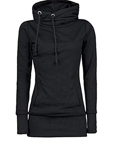 Bohai Women's High Collar Solid Pullover Tops Slim Fit Women's Hooded Sweatshirt -
