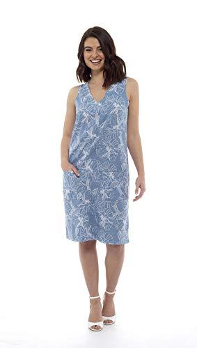 CityComfort Sommer-leinenkleid Für Damen, Locker Geschnittene, Ärmellose V-Ausschnitt, Knielang Und 2 Fronttaschen   Petite Bis Plus Kleider Größe Damenmode Erhältlich (44, Blau Blumen) -