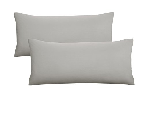 Biberna 0077144 Jersey-Kissenhüllen aus 100 % Baumwolle mit Reißverschluss, 2er-Pack, 40 x 80 cm Grau, 27 x 18 x 3 cm -