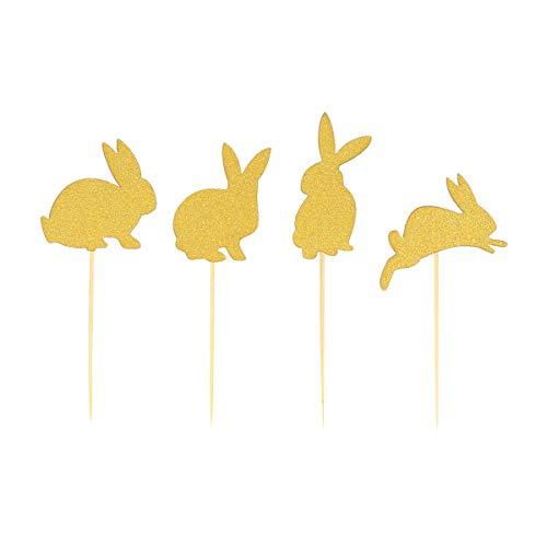 Amosfun 24 pz/set glitter bunny coniglio torta cake toppers cupcake decorazione forniture pasqua birthday party favors (golden)