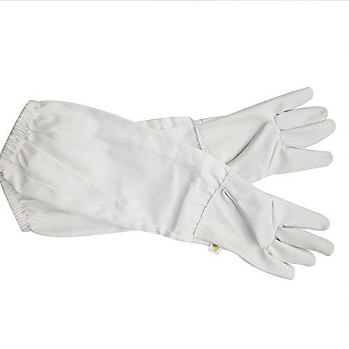 Li-HIM Bienenzucht Handschuhe, Leinwand Sting Proof Cuffs Anti-Bienenstich Durable für kommerzielle Imker, Weiss