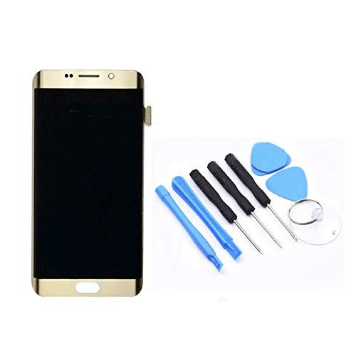 WEIWEITOE-DE LCD G925F / G925AVTP Display Touchscreen Ersatz für Samsung Galaxy S6 Edge Smartphone Reparatur Zubehör, Gold, Edge-lcd