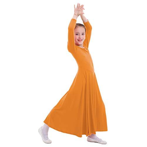 OBEEII Mädchen Tanzstrumpfhose Liturgisch Tanzkleid Lange Ärmel Jugendliche Elegant Worship Tanzkleidung Ballett Jazz Lateinischer Tanz Kirche Chor Beten Gebet Kostüm für Kinder Orange 11-12 Jahre