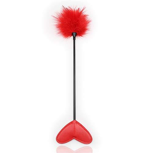 Rapidly 1 Stück Paddel Leder Feder Liebe Herz Paddel Federkitzler erotische Fantasy Peitschen Bondage Sex-Spielzeug (Rot)