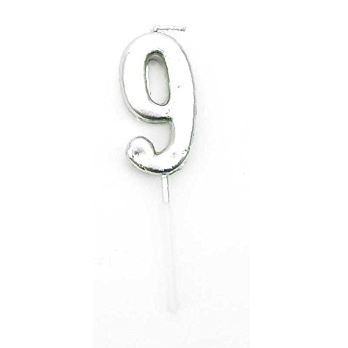 Gifts 4 All Occasions Limited SHATCHI-1350 Shatchi - Vela de plata con 9 números, decoración para tarta de cumpleaños, aniversario, fiesta
