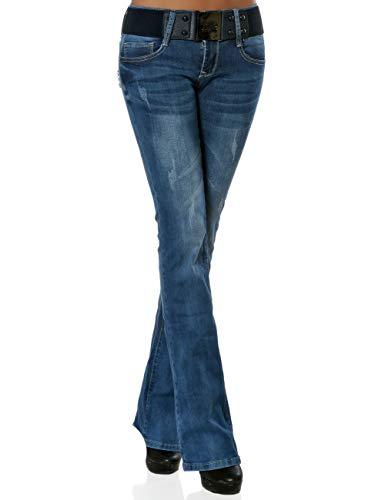 Damen Boot-Cut Jeans Hose mit Gürtel DA 15958 Blau M / 38 -
