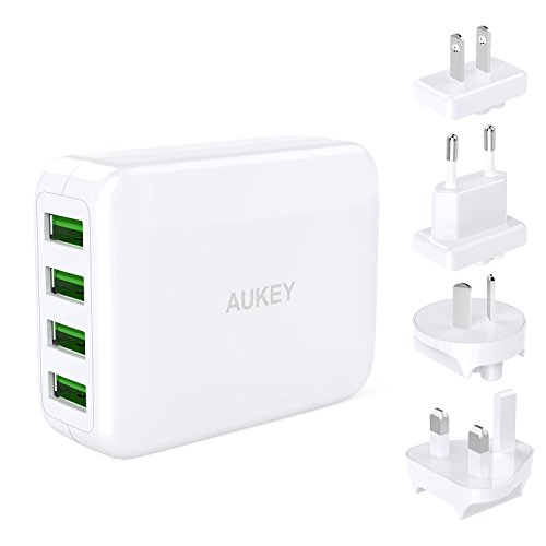 AUKEY USB Cargador con 4 Puertos de Adaptador de...