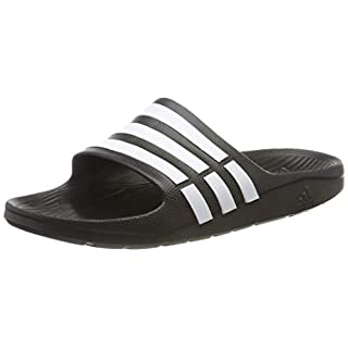 adidas Duramo Slide, Men's Open Toe Sandals, Black (Black/White/Black), 13 UK (48 1/2 EU)