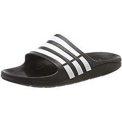 adidas Duramo Slide, Chanclas Unisex Adulto, Negro (Black/White/Black), 43 EU